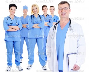 Mature-male-doctor-with-colleagues